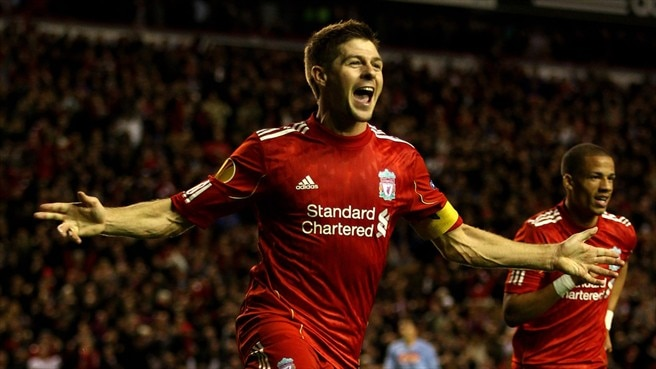 Gerrard stuns Napoli with late treble