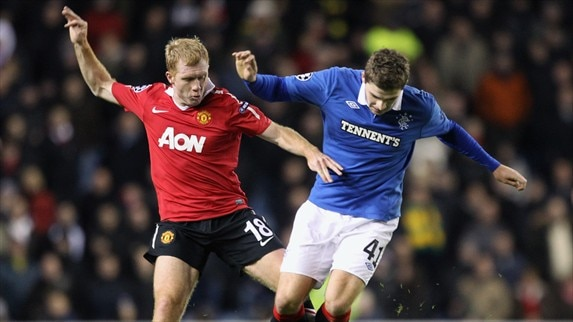 Rangers - Man. United reaction (Scholes, Weiss, Evans & Naismith)