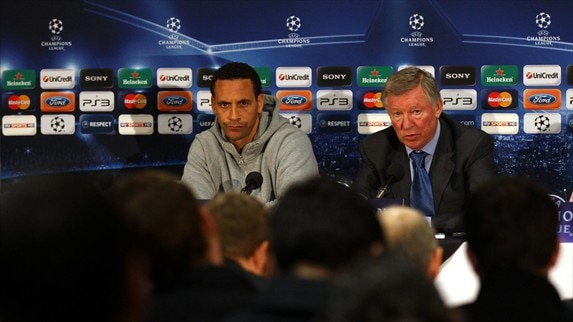 Press conference: Sir Alex Ferguson & 	Rio Ferdinand (Man. United)
