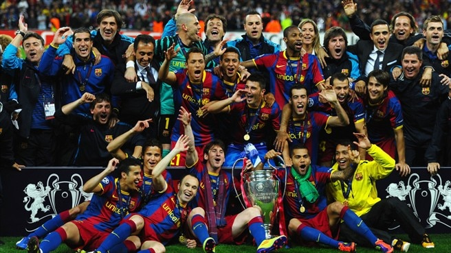 Barcelona crowned as Messi and Villa see off United