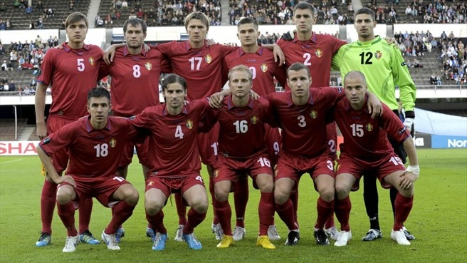 Moldova players line up