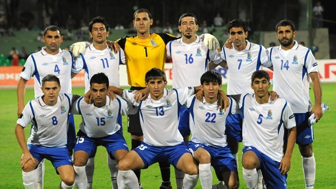 Azerbaijan players line up