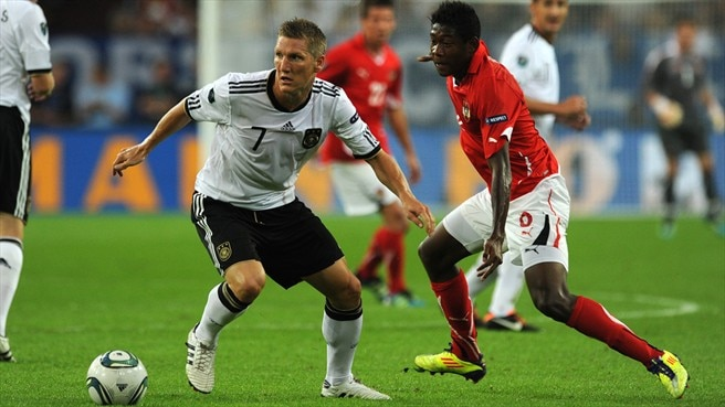 Bastian Schweinsteiger (Germany) & David Alaba (Austria)
