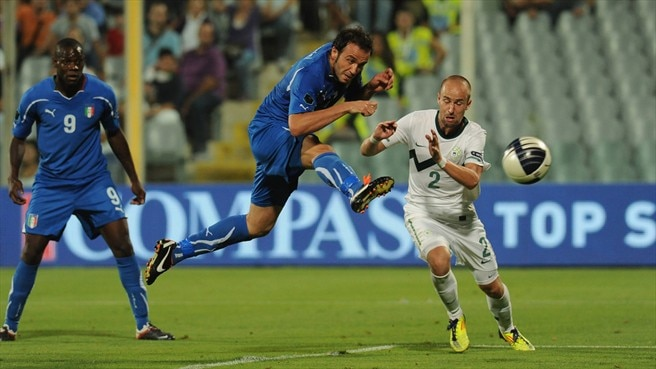 Pazzini fires Italy past Slovenia to finals