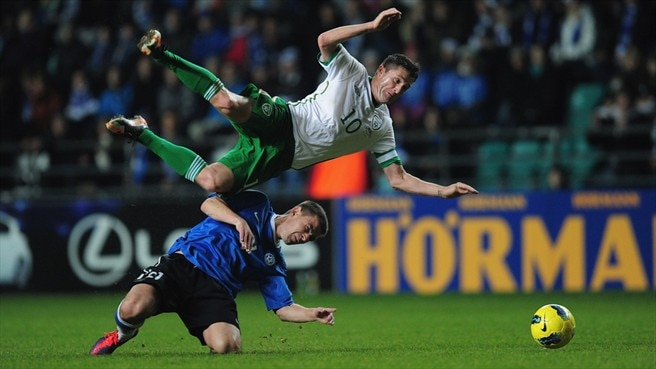Andrei Stepanov (Estonia) & Robbie Keane (Republic of Ireland)