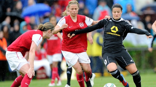 Dzenifer Marozsan (1. FFC Frankfurt) & Gilly Flaherty (Arsenal Ladies FC)