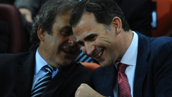 Crown Prince Felipe of Spain & UEFA President Michel Platini