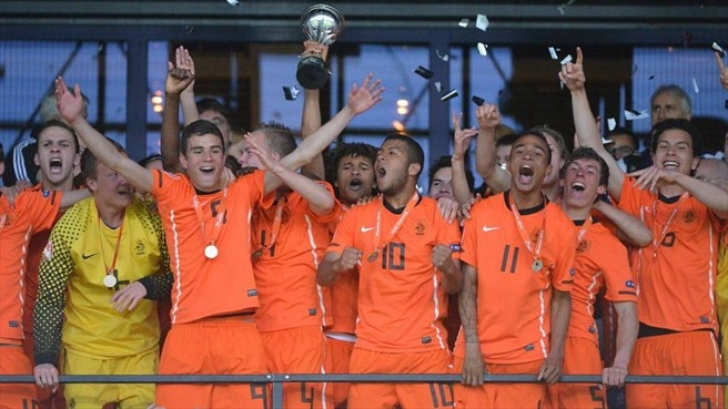 The Netherlands players celebrate