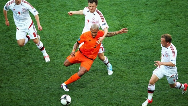 Nigel de Jong (Netherlands), Christian Eriksen, William Kvist & Michael Krohn-Dehli (Denmark)