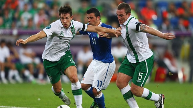Sean St Ledger, Richard Dunne (Republic of Ireland) & Antonio Di Natale (Italy)