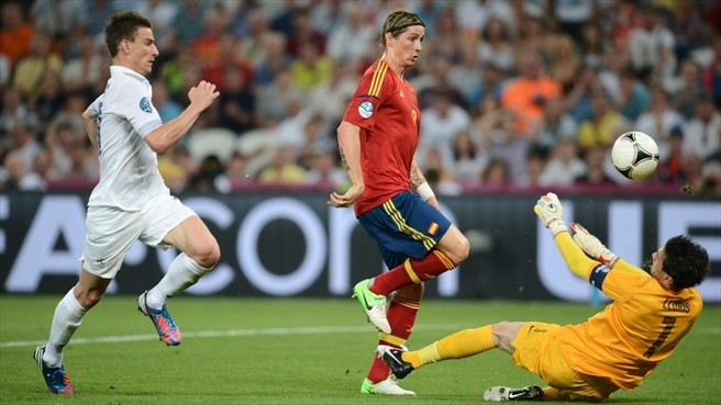 Fernando Torres (Spain) & Hugo Lloris (France)