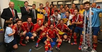 Spain celebrate in the dressing room after their UEFA EURO 2012 success