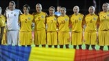 Romania players line up