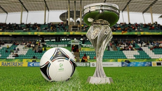 UEFA European Under-19 Championship trophy and official match ball