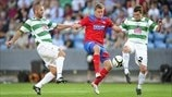 Alfred Finnbogason (Helsingborgs IF), Phil Baker & Simon Spender (The New Saints FC)