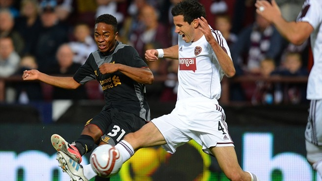Ryan McGowan (Heart of Midlothian FC) & Raheem Sterling (Liverpool FC)