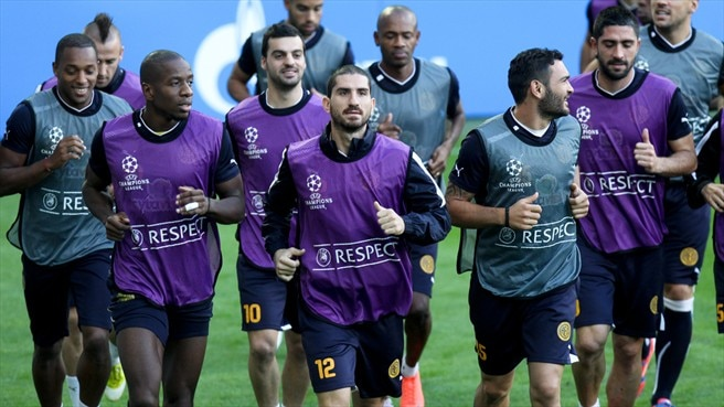 AEL Limassol FC players train