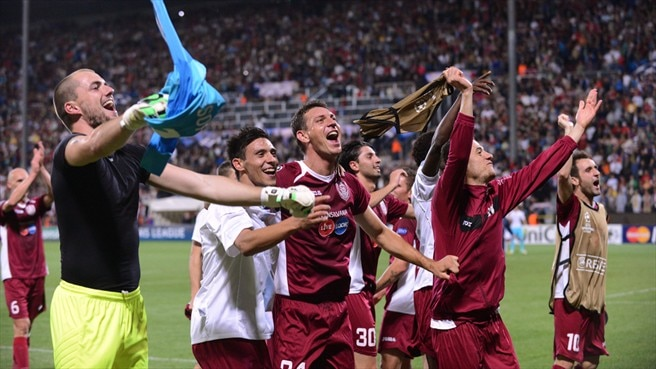 CFR 1907 Cluj players celebrate victory