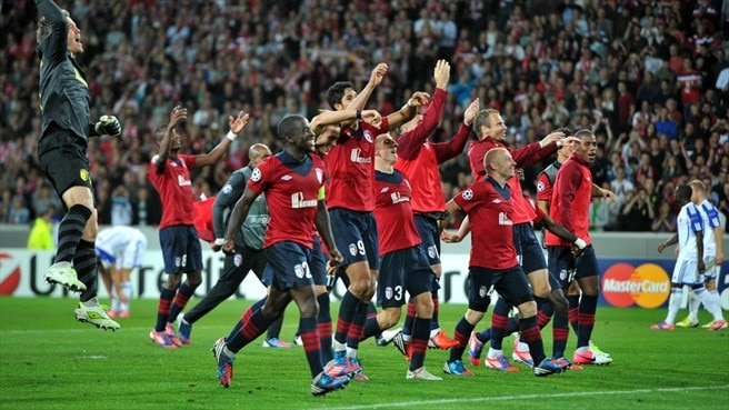 LOSC Lille players celebrate victory