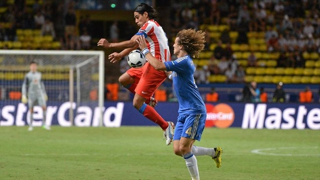 Falcao (Club Atlético de Madrid) & David Luiz (Chelsea FC)