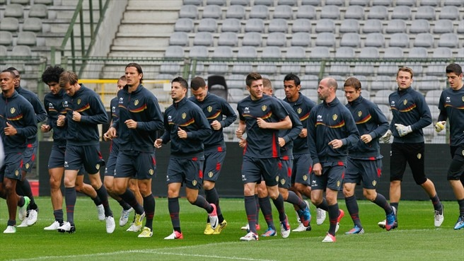 Belgium players train