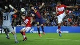 Background: FC Barcelona v Paris Saint-Germain FC