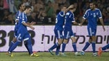 Israel players celebrate a goal