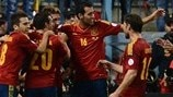 Spain players celebrate their opening goal