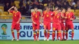 Montenegro players celebrate a goal