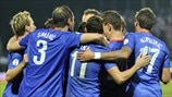 Croatia players celebrate a goal