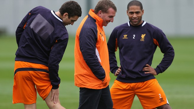 Brendan Rodgers, Glen Johnson & Stewart Downing (Liverpool FC)
