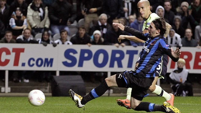 Newcastle overcome Brugge with Obertan goal