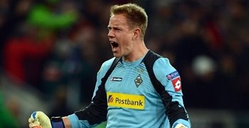 Marc-André ter Stegen celebrates against Marseille during the group stage