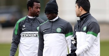 Efe Ambrose, Victor Wanyama and Miku in training on Tuesday