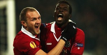 Mame Diouf savours his strike against Helsingborg