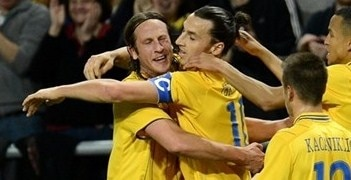 Zlatan Ibrahimović celebrates one of his four goals against England