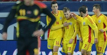 Alexandru Maxim (No20) is congratulated after scoring against Belgium last November