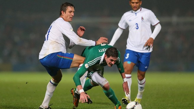 Kyle Lafferty (Northern Ireland) & Vladimir Levin (Azerbaijan)