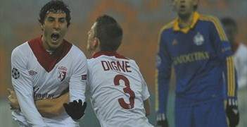 Gianni Bruno (left) celebrates scoring his first UEFA Champions League goal