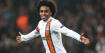 Willian celebrates after scoring Shakhtar's third goal against Nordsjælland in November