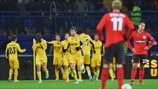 FC Metalist Kharkiv players celebrate