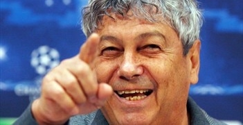 Mircea Lucescu speaks to the assembled media in Donetsk on Tuesday