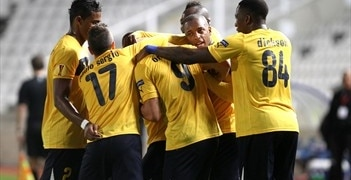AEL players congratulate Orlando Sá (centre) after his opening goal