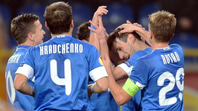 FC Dnipro Dnipropetrovsk players celebrate a goal