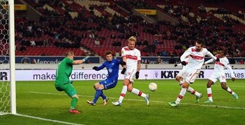 Stuttgart striker Vedad Ibišević takes a shot at goal