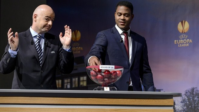Gianni Infantino & Patrick Kluivert (UEFA Europa League round of 16 draw)