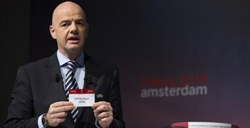 Gianni Infantino helped to conduct today's round of 32 and 16 draws in Nyon