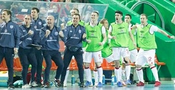 The England bench celebrate a goal on Friday against Lithuania
