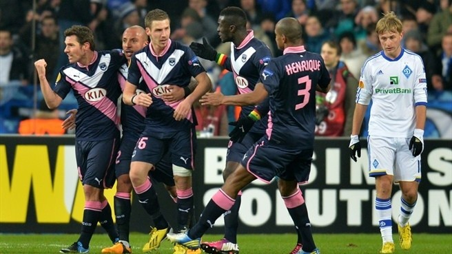 Ludovic Obraniak (left) is congratulated after drawing Bordeaux level
