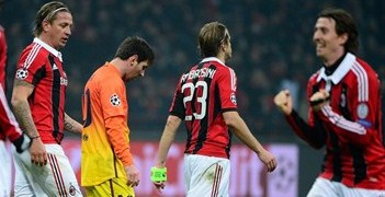 Lionel Messi's dejection contrast with Milan's celebrations